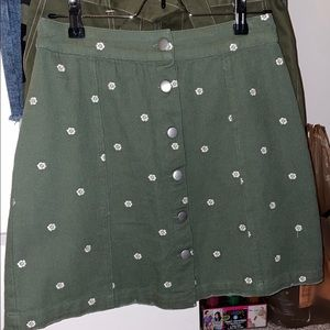 Green jean button skirt  w/ white flowers